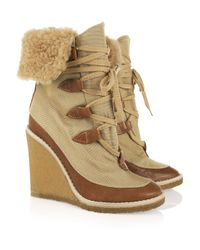 Chloé | Natural Canvas and Leather Wedge Ankle Boots | Lyst