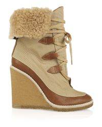 Chloé - Natural Canvas and Leather Wedge Ankle Boots - Lyst