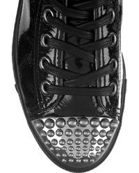 Miu Miu | Black Patent-leather High-top Sneakers | Lyst