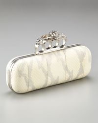 Alexander McQueen | White Knuckle-clasp Snakeskin Box Clutch | Lyst