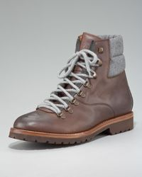 Brunello Cucinelli | Brown Leather Hiker Boot for Men | Lyst