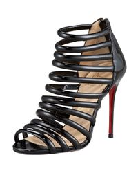 Christian Louboutin | Black Patent String Bootie | Lyst