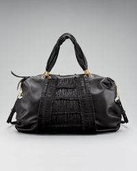 Elie Tahari | Black Bethany Ruched Leather Satchel | Lyst