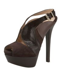 Fendi | Brown Stamped Lizard Cutout Platform Sandal | Lyst