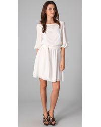 Halston | White Long Sleeve Dress with Gathered Waist | Lyst