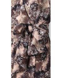 Halston - Brown Beaded Wrap Dress - Lyst