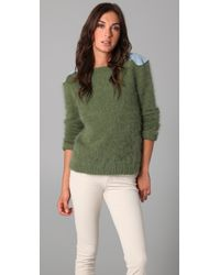 Le Mont St Michel | Green Angora Sweater with Denim Patches | Lyst