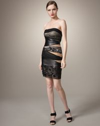 Mandalay Black Mixed-media Strapless Dress