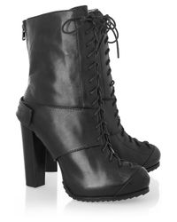McQ | Black Lace-up Leather Ankle Boots | Lyst