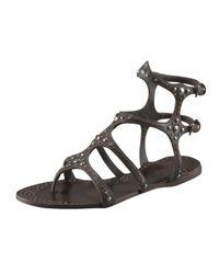 Miu Miu | Black Studded Gladiator Sandal | Lyst