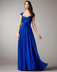 Notte by Marchesa | Blue Empire-waist Chiffon Gown | Lyst