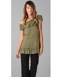 RED Valentino | Green One Bow Shoulder Top | Lyst