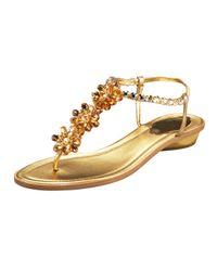 Rene Caovilla | Metallic Crystal-Flower Thong Sandal | Lyst