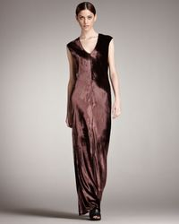 T By Alexander Wang | Purple Velvet Maxi Dress | Lyst