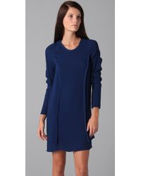 3.1 Phillip Lim | Blue Long Sleeve Dress with Seam Details | Lyst