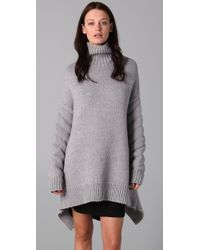Alexander Wang | Gray Quilted Sleeve Sweater with Zip Back Peplum | Lyst