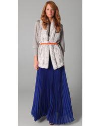 Alice + Olivia - Blue Shannon Pleated Long Skirt - Lyst
