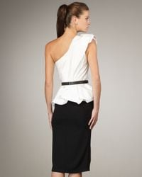 Alice + Olivia | Black Belted One-shoulder Peplum Dress | Lyst