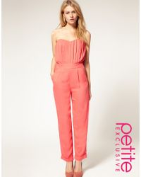 ASOS Collection - Pink Asos Petite Excluisve Jumpsuit with Pleated Bust - Lyst