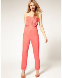 ASOS Collection | Brown Asos Petite Excluisve Jumpsuit with Pleated Bust | Lyst