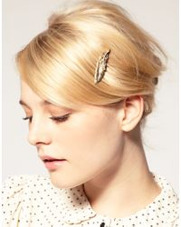 ASOS Collection | Metallic Asos Vintage Style Feather Hair Comb with Diamante Detail | Lyst