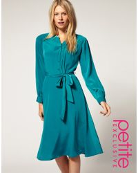 ASOS Collection - Green Asos Petite Exclusive Midi Dress with Button Front - Lyst
