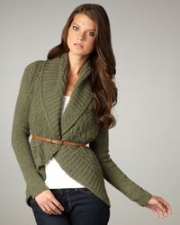 Autumn Cashmere | Green Draped Cable-knit Cardigan | Lyst