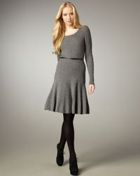 Autumn Cashmere | Gray Cable Knit Fit-and-flare Dress | Lyst