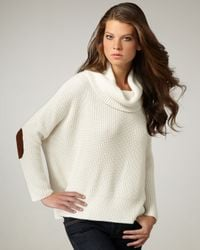 Autumn Cashmere | White Elbow-patch Cowl-neck Sweater | Lyst