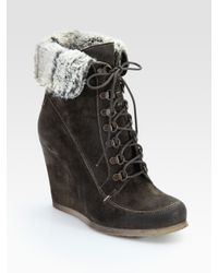 Boutique 9 | Gray Destin Suede Wedge Ankle Boots | Lyst