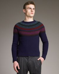 Burberry Prorsum - Blue Fair Isle Sweater for Men - Lyst