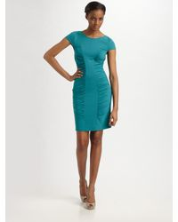 Catherine Malandrino | Blue Cap Sleeve Rouched Center Madeline Dress | Lyst