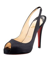 Christian Louboutin | Black No Prive Satin Slingback Pump | Lyst
