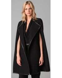 DKNY | Black Twill Cape with Leather Trim | Lyst