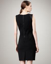 Elie Tahari | Black Emory Leather-detail Dress | Lyst