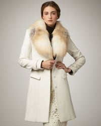 Elie Tahari | White Joanne Fur-trim Coat | Lyst