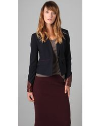 Elizabeth and James - Blue Ashford Leather-trim Blazer - Lyst
