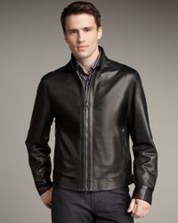 Ermenegildo Zegna | Black Leather Jacket for Men | Lyst