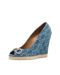 Gucci | Blue Charlotte Denim Espadrille | Lyst