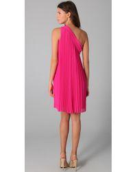 Halston - Pink One Shoulder Pleated Dress - Lyst