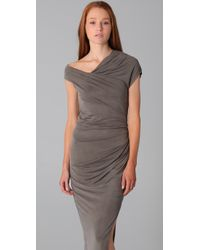 Helmut Lang - Gray Long Asymmetric Dress - Lyst