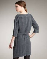James Perse | Gray Crepe Drawstring Dress | Lyst