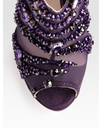 Jimmy Choo - Purple Kiln Crystal-covered Mesh and Suede Ankle Boots - Lyst
