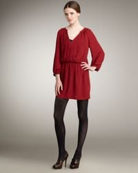 Joie | Red Molly Cross-front Silk Dress | Lyst