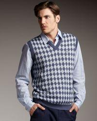 Lacoste Blue Diamond-pattern Sweater Vest for men