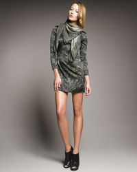 McQ | Green Long-sleeve Graffiti Dress | Lyst