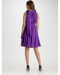 MILLY - Purple Lydia Halter Dress - Lyst