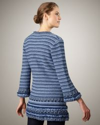 Nanette Lepore | Blue Felicity Ribbed Knit Coat | Lyst
