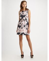 RED Valentino - Black Printed Sleeveless Dress - Lyst