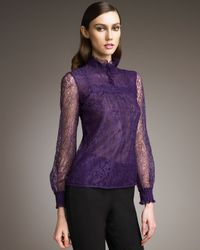 RED Valentino | Purple Chantilly Lace Blouse | Lyst